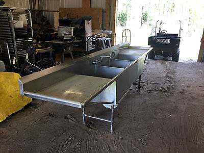 "Commercial 144"" 3 Compartment Sink"