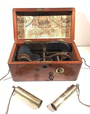 Rare Antique Magneto Electric Shock Therapy Machine for Two People with Probes