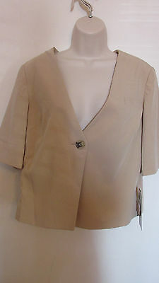 Fashion Star Blazer~Size L~Front Button & Pocket-Short Sleeve-Tan-Fully Lined
