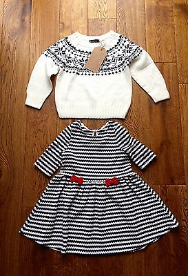 BNWT Girls Toddlers Set Outfit Bundle Dress & Knitted Top Age 18-24 Months
