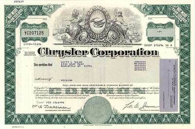 XXX-RARE MINT HISTORIC CHRYSLER STOCK w LEE IACOCCA SIG! CV $200! ONLY 1 on EBAY