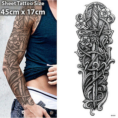 Sword Full Arm Temporary Tattoo Sleeve Stickers Body Art 3D Tattoo Waterproof