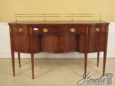 28097EC: EJ VICTOR Federal Style Inlaid Mahogany Sideboard w Brass Gallery Back
