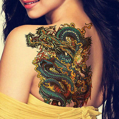 Cool Tribal Japanese Temporary Dragon Tattoos Chinese Girl Back Arm Back design