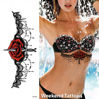 Red Rose Black Temporary Chest Tattoo Burlesque Adult Sexy Body Art Waterproof