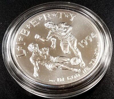 1994 D Uncirculated World Cup Commemorative silver dollar with capsule!