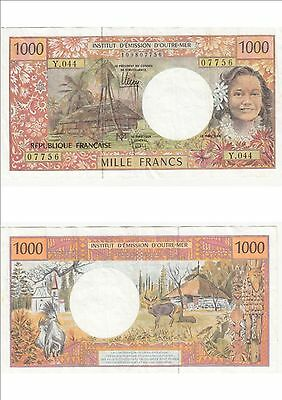 Billet banque FRENCH PACIFIC TAHITI POLYNESIE OUTRE-MER 1000 F état voirscan 756