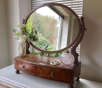 Antique Mahogany oval swing toilet dressing table mirror With Drawers Vintage