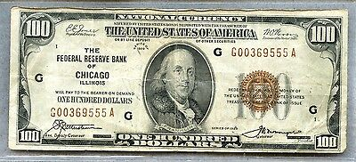 1929 ~ $100 National Currency Note ~ Chicago ~ Brown Seal ~ F+