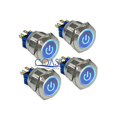 4X Durable Steel 12V 25mm Car Push Latching Button Blue Power LED Switch