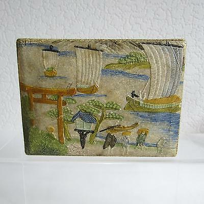 Antique Japanese Box With Decorative Scene To The Lid