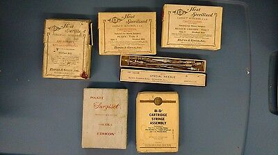 Lot Of Antique Pre 1930'S Catgut Medical Sutures Davis & Geck, & B-D Needles