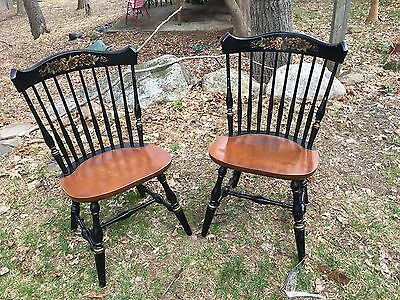 Pair Of Vintage L. Hitchcock Chair  Stenciled Wood Seat Side Chair S  Black