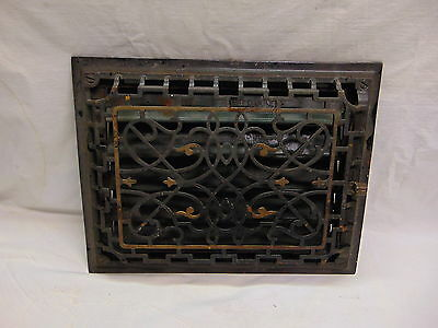 #2-1890's Antique Ornate Victorian Cast Iron Black Wall Grate Register Vent