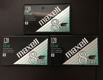 3  Maxell GX-MP 120 min 8mm High Quality Hi8 Camcorder Tapes Sealed