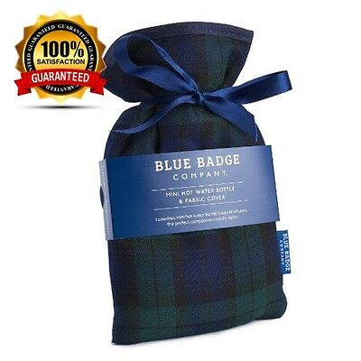 Blue Badge Company Black watch Tartan Mini Drawstring Hot Water Bottle and...