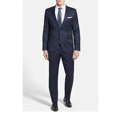 NWT $895 Hugo Boss Slim Fit Super 100 Johnstron Lenon Navy Wool Men Suit 38S