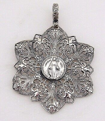 Rare Vintage Silver Religious Repousse Filigree Necklace Pendant Virgin Mary