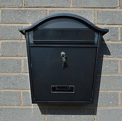 PostGard Traditional Weather Proof Steel Letterbox Black Wall Mounted Post Box