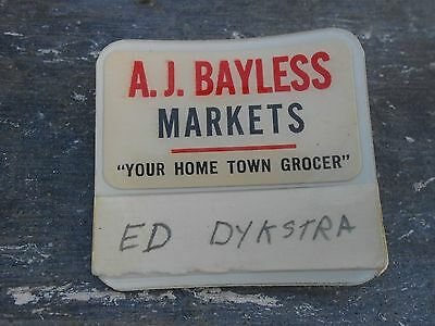 VINTAGE A.J. BAYLESS name tag grocery store Phoenix Arizona