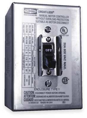 HUBBELL WIRING DEVICE-KELLEMS HBL1372D Manual Motor Switch,30A,600VAC,2P