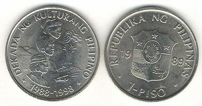 Philippines 1 Piso 1989 Unc 3 Conjoined Vertical Busts,philippine Cultures Decad