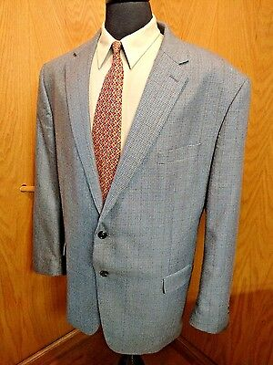 Chaps MENS BLAZER Sport Coat Jacket 50r Light Blue Check  Poly Rayon  S#22