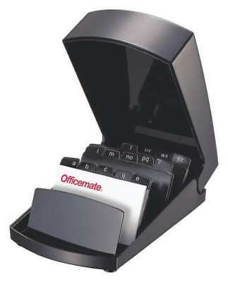 """6-1/2"""" Business Card File w/Cover, Black ,Officemate, 22342"""