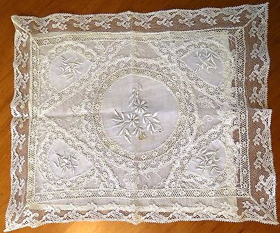 Antique Lace Doily Handkerchief Holder French Normandy Embroidered Whitework