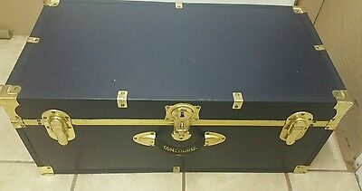 Vintage Concourse Travel Trunk Blue / Gold suitcase, storage box, chest tote bin