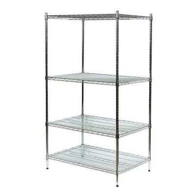 1PGF6 Industrial Wire Shelving,H63,W60,Chrome