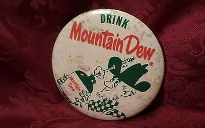 Vintage Large Mountain Dew Pinback Advertising Button with Hillbilly Cool!!!