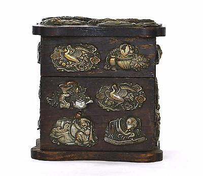 Old Japanese 25 Menuki Sword Fitting Decorated Wood Box Dragon Octopus Tortoise
