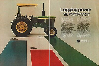 1972 John Deere 60 HP 2030 Farm Tractor Mannheim Germany Made AD 2-Page A1105