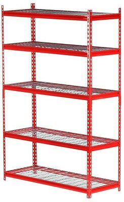 Edsal 5-Shelf Steel Storage Shelving Unit Red 72' H Organization Industrial