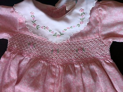 Vintage Baby Girls SMOCKED ROMPER Pink 6-9 Mos Embroidered Collar Easter Spring