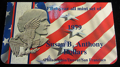 1979 Mint Set of Susan B. Anthony Dollars All 3 Mintmarks and BU!