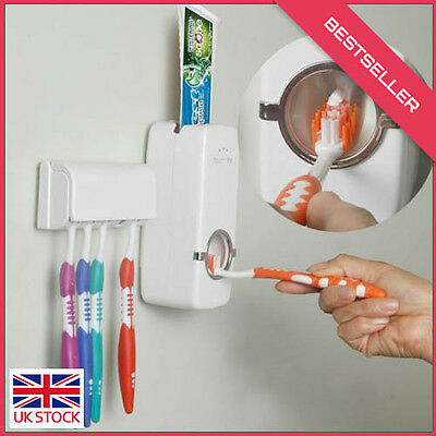 Hands Free Toothpaste Dispenser Automatic Toothpaste Squeezer & Toilet Brush