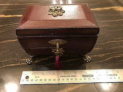 Antique Regency Leather Covered Jewel Box With Drawer