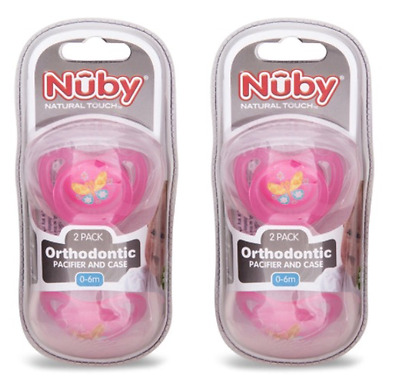 BRAND NEW 2 x 0-6mths Orthodontic Pacifier and Case 2 Pack Pink Nuby Dummy