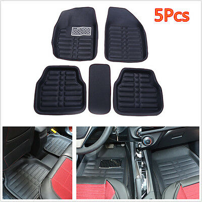 5Pcs Universal Auto Car Floor Mats FloorLiner Front &Rear Carpet Mat All Weather