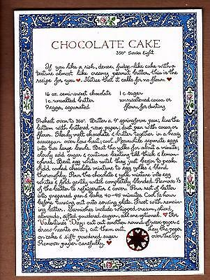 Vintage Susan Branch Chocolate Cake Recipe Greeting Card New