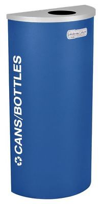 8 gal. Recycling Container Semi-Round, Blue Steel & Plastic TOUGH GUY 5UJD8