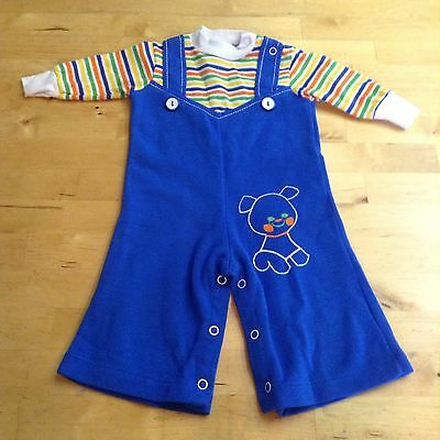Vintage 70S Toddle Time Baby Bell Bottoms Jumpsuit Overalls Retro Hippy