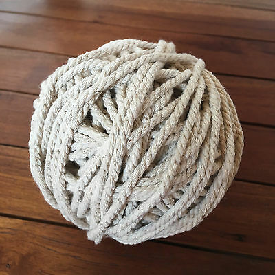 DARK ECRU Macrame Cotton Rope - 3-4mm thick 3 ply for wall art/macrame/looms