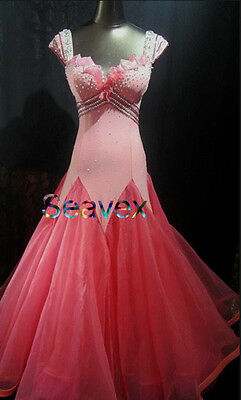 Women Ballroom Smooth Competition Standard Dance Dress US 8 UK 10 Two Pink Color