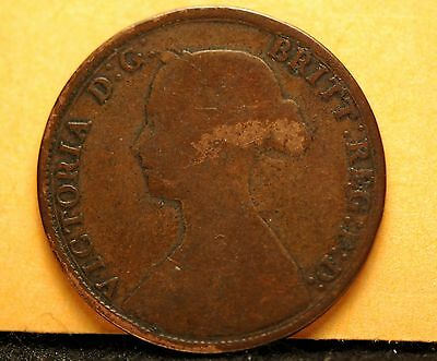 Great Britain, 1861 (Partial LCW) 1/2 Penny, Good                           0gmc