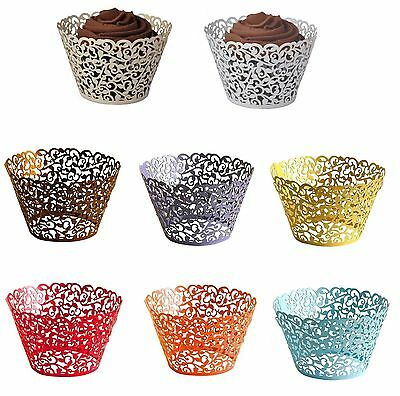 50pcs Filigree Lace Cupcake Wrappers Laser Cut Wedding Party Cake Decorations