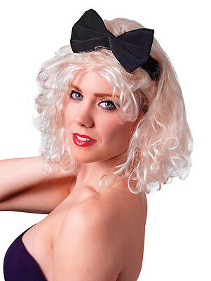 Madonna Material Girl Wig With Bow 80's 1980's Fancy Dress Accessory P10352
