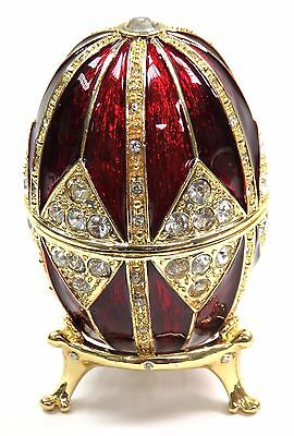 Faberge Egg Trinket Box Jewel Easter Egg Box with Crystals, Red Color